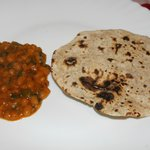 Spiced beans with roti