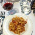 Close-up of shrimp ravioli