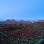 People driving in form Monument Valley in the evening (taken from our balcony)
