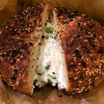 Everything bagel with scallion cream cheese