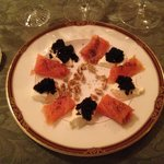 Entrée - Smoked salmon with caviar, sour cream, crushed walnuts and poppy seed