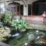 Пруд с рыбками в холле отеля