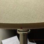 Desk Lamp, Shade with spotted red stain