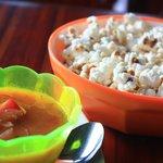 Free popcorn/ceviche appetizer