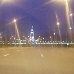Bitaraplyk arkasy - Arch of Neutrality Ashgabat.As seen in the distance