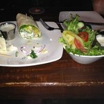 """""""Grilled Veggie Wrap"""" and replacement salad. (note: wrap does not appear to be grilled)"""