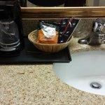 Coffee machine in bathroom
