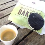 Chocolate cookie and an espresso.