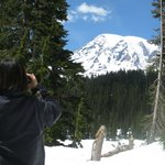 Getting a close up view of Mt. Rainier's many glaciers