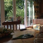a morning view from the farmhouse kitchen for breakfast