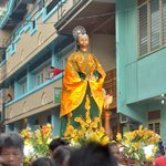 watching Moriones Festival parade of saints (Boac Hotel as background)