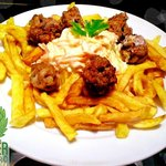 Grilled meat balls with french fries