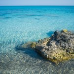 blue, clear waters