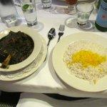 Shank and saffron-seasoned rice