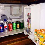 The fridge. Drinks topped up regularly