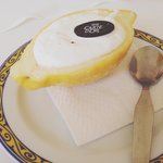 Lemon sorbet in natural shell. Very refreshing.