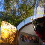 Wine tastings outside the entrance to the mountain cellar