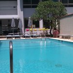 Hotel pool looking towards the bar