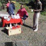 Breakfast at camp site near River Ewaso Ngiro