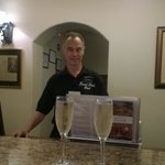 Bob, friendly helpful front desk, note the champagne!