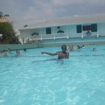 Oldest son in the wave pool