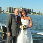 bride and groom on fishing dock