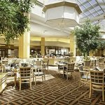 Beautiful open atrium with lots of natural lighting at the DoubleTree Colorado Springs.