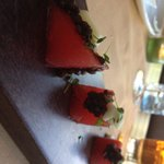 Complimentary very very tasty starter or watermelon, lentils and cheese.