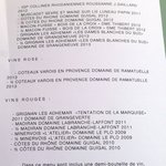 carte des vins du menu du marché