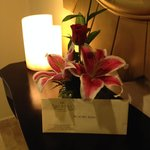 Our flower and Letter upon our arrival.