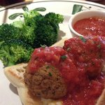 Meatball pronto lunch, sub fries with brocolli