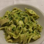 Spicy tagliatelle with spicy pesto sauce