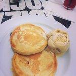 Blueberry pancakes and ice cream breakfast