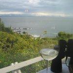 View of Strait of Juan de Fuca; Each table has binoculars