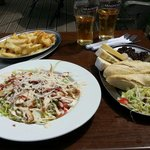Caesar Salad, cheesy chips and mixed cheese ploughman's