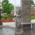 fountain cherub holding fish