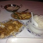 Prawn Chow men and Kung Po chicken
