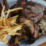 Ribs, chicken, wings and brisket plate.
