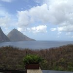 View of the Pitons from our sanctuary.  Amazing!!
