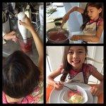 Making fresh strawberry gelato