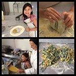 Marcella's lessons on making paglia e fieno (like a fettuccine)