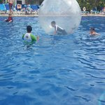 Boy in the bubble at the main pool