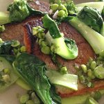 Trout with crushed peas and sake and almonds