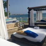 VIP beach canopy beds and hot tub