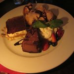 The complementary dessert assortment.