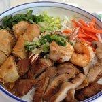 Chicken, shrimp and eggroll bun