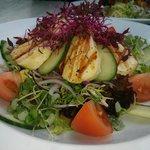 Bright and colourful large Halloumi salad