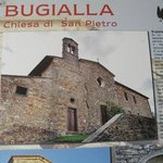 A photo of Bugiala as a buiding of historical importance, as displayed on a wall in Radda in Chi