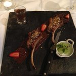 Lamb on chocolate sauce with mint froth and cherry spirit