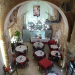 View of main dining room (a former church) of Ristorante Santa Felicita - much busier later!